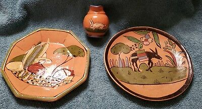 Vintage Mexican Hand Painted Pottery Two Small Plates and a Small Pitcher
