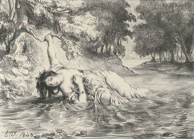 The Death of Ophelia by Eugene Delacroix, 1843, Vintage Shakespeare Poster