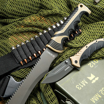 2pc USMC Marines Army Machete Fixed Blade Knife + Pocket Folding Assisted Blade