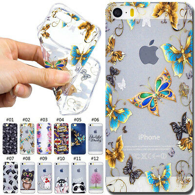 For Apple TPU Case Cover Shockproof Soft Cute Back Silicone Rubber Pattern Skin