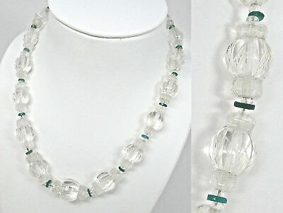 Fine Antique Art Deco Chinese Hand Carved Rock Crystal Lantern Bead Necklace