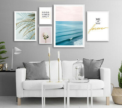 Ocean Waves Flower Landscape Canvas Poster Nordic Wall Art Print Home Decor