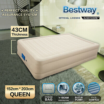 Bestway Air Bed Inflatable Luxury Queen Blow Up Mattress Built-in Pump Travel