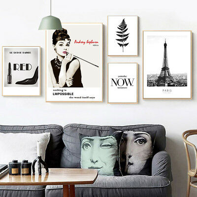 Audrey Hepburn Makeup Canvas Poster Paris Fashion Wall Art Print Home Decor