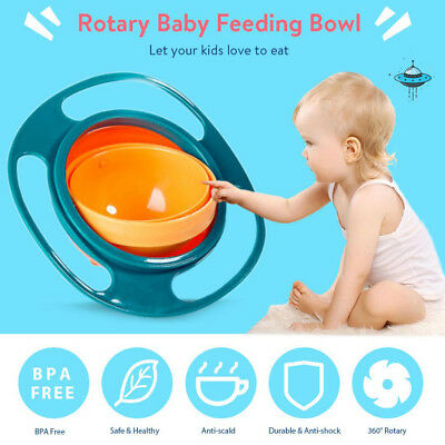 Infant Baby Kids Feeding Bowl 360 Degree Rotatable Funny Toy Non-Spill UFO Dish