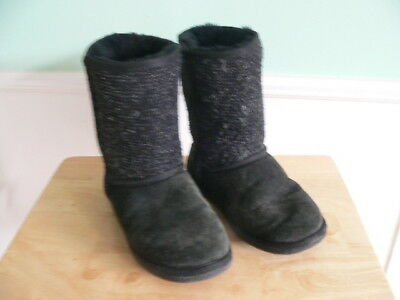 Minnetonka #86510 Black Leather/Synthetic, Shearling Lined Boots, Womens 9