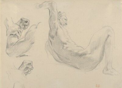 Studies of a Fallen Male Nude by Eugène Delacroix Anatomy Poster