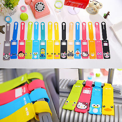 3pcs Cute Silicone Travel Luggage Tags Baggage Suitcase Bag Labels Name Address