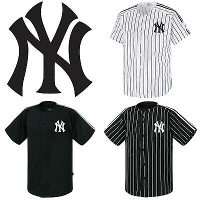 buy online d7852 266a1 NY NEW YORK Yankees Button Jersey Striped Baseball Open T ...