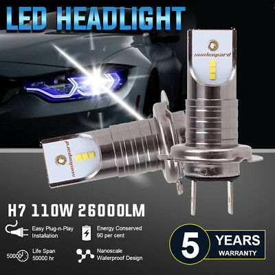 MALUOKASA H7 CSP Chips 110W 26000LM LED Headlight Bulbs Car Driving Lights 6000K