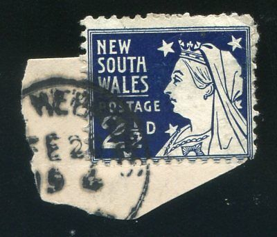 New Hebrides NSW on piece, cancelled Vila FE.20.19 4 (0 missing) on NSW 2 1/2d