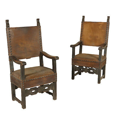 Pair of Revival Walnut Thrones Leather Italy First Half of 1900s