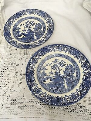 """Set Of  2 Vintage Ironstone Old Willow Blue Pattern 9.75"""" Plates"""
