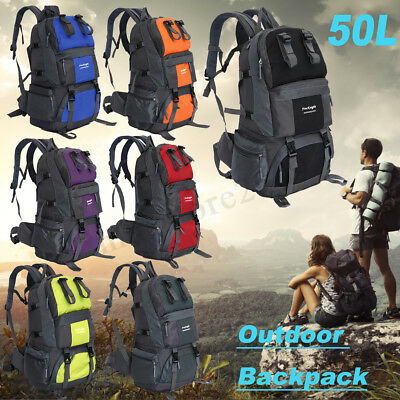 50L Camping Hiking Climbing Rucksack Travel Backpack Military Outdoor Bag Pack