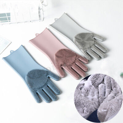 1 Pair  Magic Silicone Rubber Dish Wash Gloves Eco Cleaning Heat Resist Kitchen