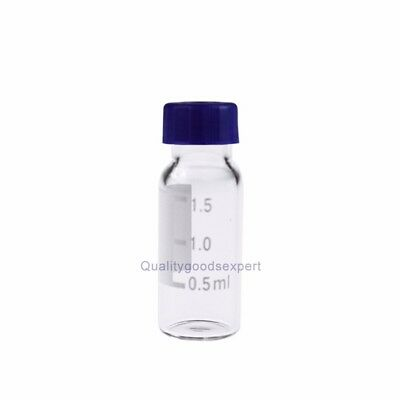 100pcs 2ml 9-425 Screw Top Glass Vials High Quality With Blue Caps&Septa HPLC GC