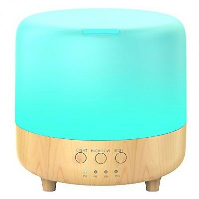 Wood Grain Ultrasonic Aromatherapy Essential Oil Diffuser Quiet Humidifier 500ml
