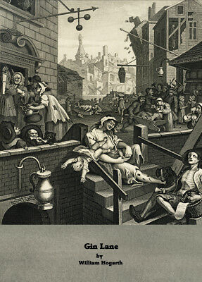 Gin Lane, 18th century, by William Hogarth vintage beers, wines & spirits poster