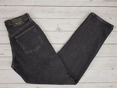Levi Strauss & Co Vintage 618 Mens Loose Fit Black Grey Jeans Button Fly W28 L34