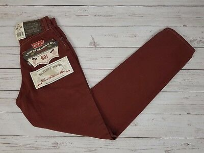 Levi Strauss & Co Vintage Womens Red 901 Regular Fit Jeans W24 L32
