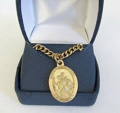 "St Christopher Medal Pendant Necklace 24"" Chain ITALY GOLD Plate"