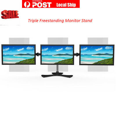 Heavy Duty Triple Desktop Monitor Stand Mount LCD Display Screen Holder 3 Arms