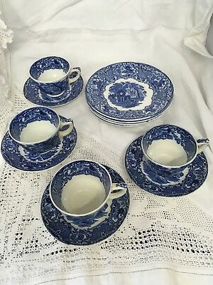 """Set Of Four Antique George Jones """"Abbey"""" Pattern Trios Blue And White"""