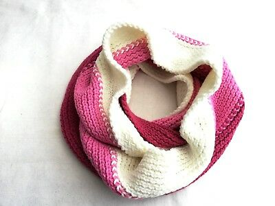 grosse écharpe cache cou col tricot tube snood rose blanc hiver homme femme 8182b12f419