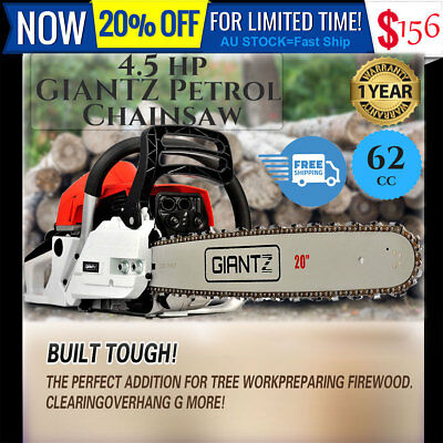 "Giantz 62CC 4.5HP Petrol Chainsaw Commercial E-Start 20"" Bar Tree Pruning Garden"