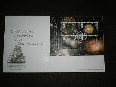 2002 GB Stamps ASTRONOMY Mini Sheet First Day Cover STAR GLENROTHES Cancels FDC