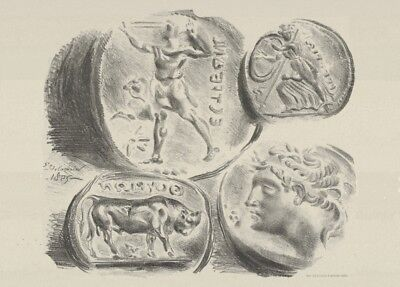 Studies of Four Greek Coins by Eugène Delacroix French Poster