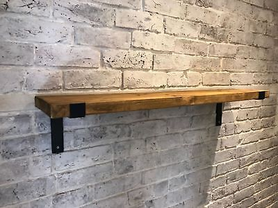 Pair Black Scaffold Board Heavy Duty Shelf Brackets Industrial Rustic 225mm