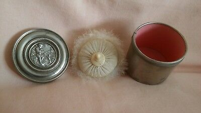 Vintage Art Deco  Rare Small French Metal Lidded  Pot With Powder Puff Wellused
