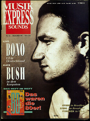 Musik Express Sounds -- 1989 - Nr. 12 -- Bono -- mit Heft im Heft -- Kate Bush