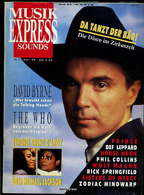 Musik Express Sounds -- 1988 - Nr. 5 -- David Byrne -- The Who -- Prince --