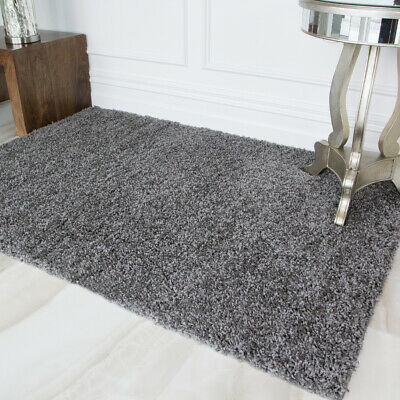 New Modern Grey Shagg Rugs Small Extra Large Big Huge Monochrome Soft Mats Cheap