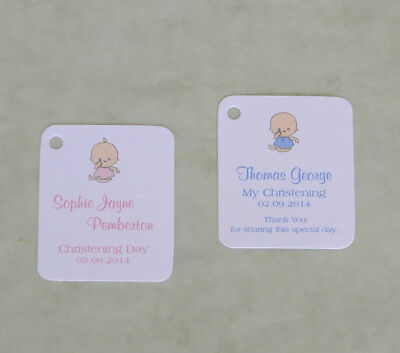 30 Personalised Christening Baptism / Baby Shower /Favour Gift Tags / Thank You