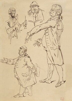 Studies of Four Englishmen, after James Gillray. by Eugène Delacroix Poster