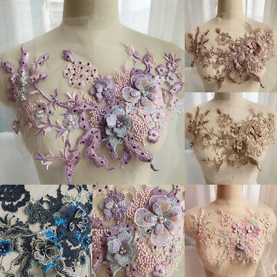Exquisite Flower Embroidery Lace Applique Pearl Beaded Tulle DIY Wedding Dress