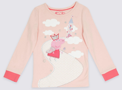 Ex Marks and Spencer Girls Kids Peppa Pig Pyjama Top Age 2 - 3 Years (P81.13)