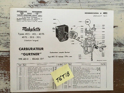 Motobécane Motoconfort carburateur gurtner mobylette 40 50 parts list catalogue