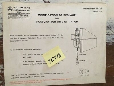 Motobécane Motoconfort carburateur AR 2-12 R729 note technique réglage 1973