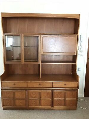 Nathan Vintage Tall Glazed Retro Bookcase / Display Unit Cupboard. Working Light