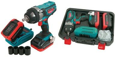 """Heavy Duty 20V 1/2"""" Lithium Li-Ion Cordless Impact Wrench  & 2 Batteries In Case"""