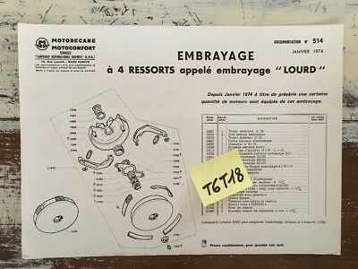 Motobécane Motoconfort embrayage lourd parts list catalogue pièces 1974