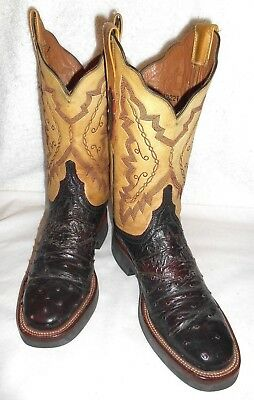 025e7b1e223 7 B LUCCHESE 2000 Full Quill Ostrich Black Cherry Crepe Sole Women's Boots