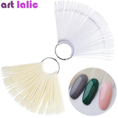 50pcs Oval False Display Nail Art Fan Wheel Practice Board Tip Stick Color Chart