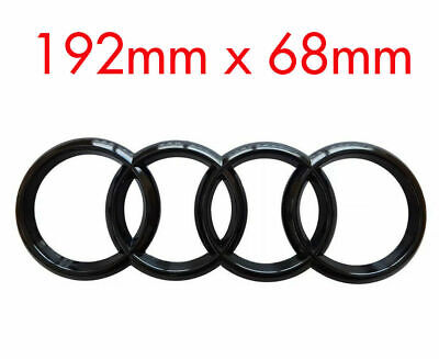 AUDI  GLOSS BLACK  REAR BLACK RINGS BADGE  LETTERS  BOOT 193x68mm