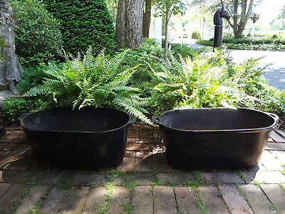 2 ANTIQUE 1800s ESTATE GARDEN BLACK CAST IRON OVAL URN TUB POT CAULDRON PLANTERS