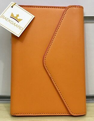 Baekgaard Leather Day Planner in Tango Mango/Bubblegum with Signature Pen